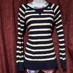 J Crew Navy White Stripe Crewneck Pullover Sweater